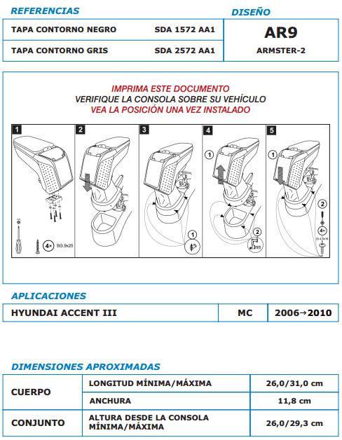 Medidas apoyabrazos Hyundai Accent III